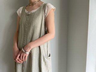 Grayish Khaki Linen Maxi Dress