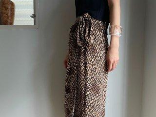 90s Brown Croco Pattern Rayon Wrap Skirt