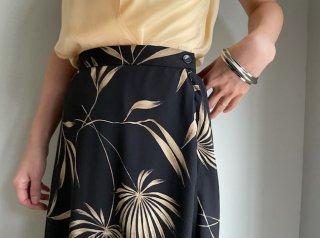 80s- Black Beige Botanical Pattern Silk Maxi Skirt
