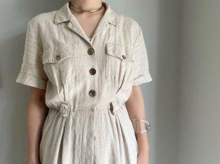 80s- Oatmeal Faux Linen Shirt Dress