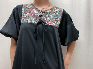 70s Black Floral Switching Prairie Dress