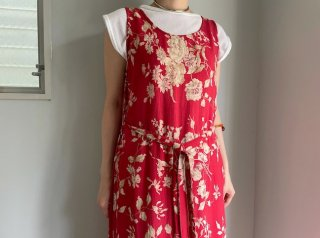 Red Beige Floral Sleeveless Rayon Dress