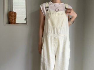 80s- Pale Yellow Linen Overalls
