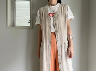 80s- Oatmeal Linen Rayon Sleeveless Dress