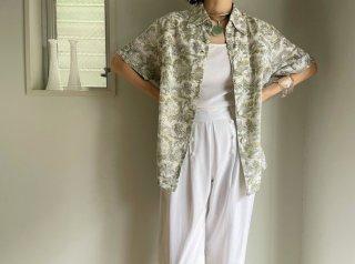 70s- White Green Landscape Pattern Cotton Shirt