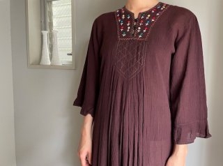 70s- Red Brown Embroidery Semi Sheer Maxi Dress