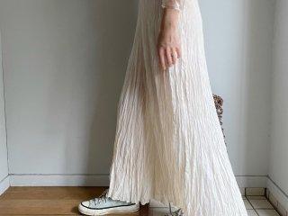 80s- Ivory Crinkle Silk Maxi Skirt