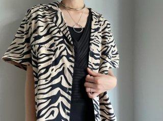 80s- Beige Black Zebra Cotton Shirt