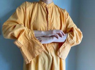 1930s- Orange Band Collar Cotton Grandpa Shirt