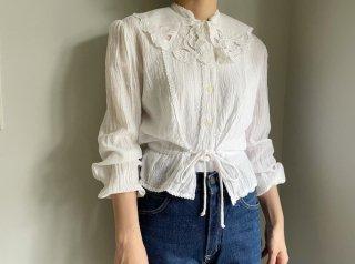 70s White Gauze Cotton String Waist Blouse
