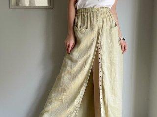 Pistachio Green Linen Front Snaps Design Maxi Skirt