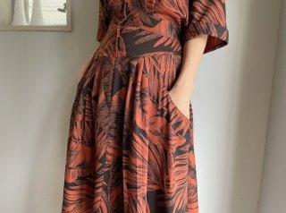 80s Brick Brown Botanical Rayon Dress