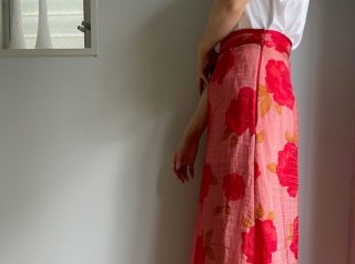 Pink Red Floral Layered Organza Fabric Maxi Skirt