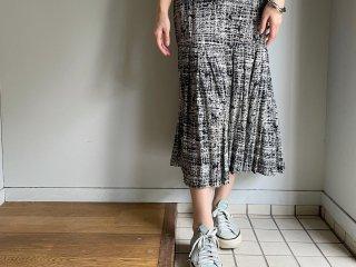 80s Black White Mosaic Pattern Pleated Long Skirt