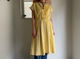 50s- Yellow Stripe Cotton Dress