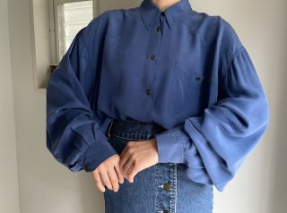 Blue Yoke Design Silk Shirt