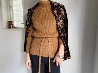 80s- Brown Bottle Neck Rib Knit Top