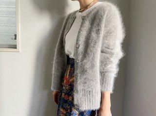 90s- Gray Angora Knit Cardigan