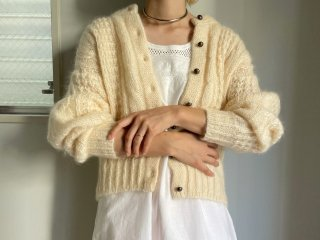 80s Ivory Cable Mohair Knit Cardigan