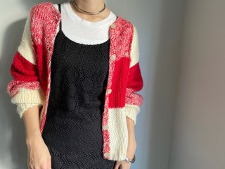 80s Red Ivory Square Pattern Knit Cardigan