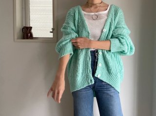 80s Emerald Green Cable Knit Cardigan