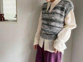 80s- Gray Mosaic Stripe Knit Vest