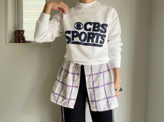 80s- White Navy Print Sweatshirt