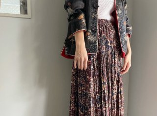 90s- Brown Paisley Tiered Pleats Maxi Skirt