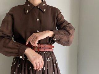 70s Brown White Dot Embroidery Cotton Maxi Dress