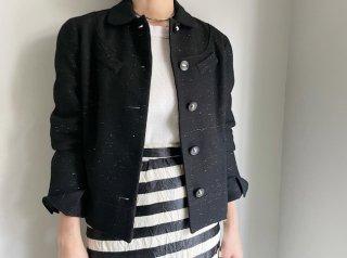 50s- Black Melange Wool Jacket