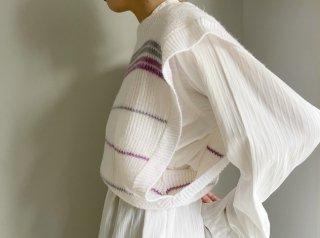 80s- White Stripe Side Open Knit Vest