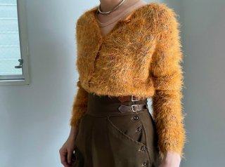90s- Orange Melange Shaggy Knit Cardigan