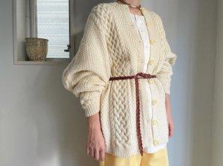 70s- Ivory Fisherman Knit Cardigan