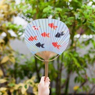 8010 竹うちわ 小丸型【花火金魚】