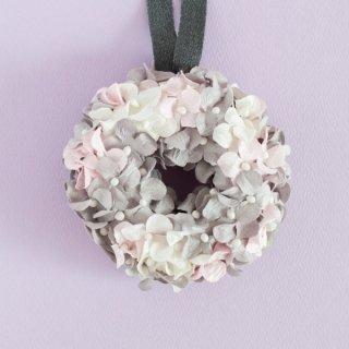 T_21 【ソラフラワー】ピンク色の紫陽花リース