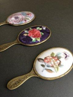手刺繍アンティーク調手鏡 M-004