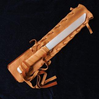 SW065 セレナイトワンド(中)ブラウン革袋  平ら 330mm