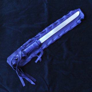 SW073 セレナイトワンド(中)パープル革袋  390mm