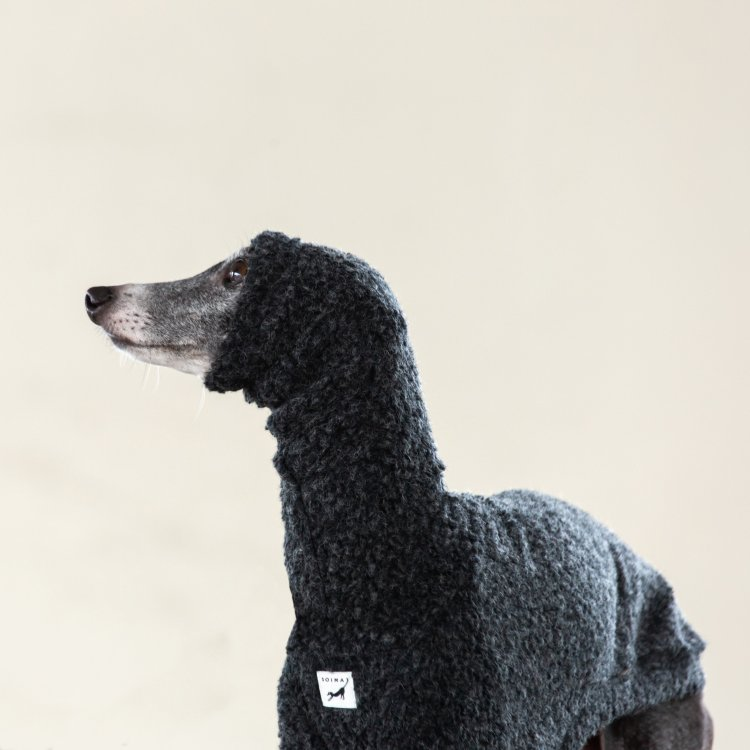 ITALY WOOL BOA L/S SWEATERS [CHARCOAL]