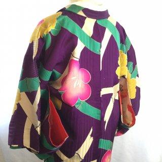 円窓K04*地紋も綺麗な椿竹梅/アンティーク羽織
