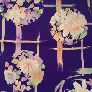 円窓H01*雪輪に咲く儚げな花/アンティークはぎれ