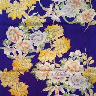 円窓H04*補色の美と淡い花/アンティークはぎれ