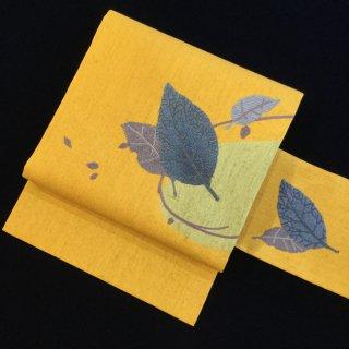 円窓O87*踊る木の葉の名古屋帯/リユース