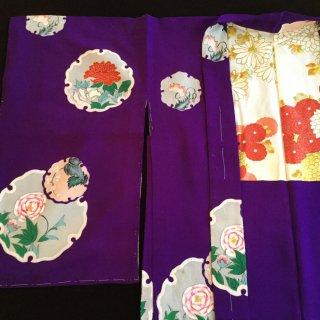 円窓K68*雪輪に咲く花/アンティーク羽織