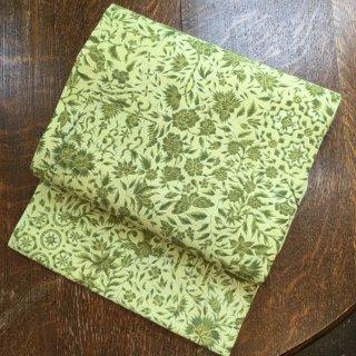 円窓O187*若苗色に茂る植物(未使用品)名古屋帯/リユース