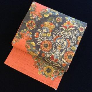 円窓O193*生紬の染帯(未使用品)袋帯/リユース