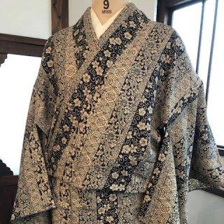 円窓K176*エキゾチック更紗小紋・単衣/リユース