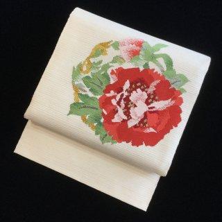 円窓O208*大輪の花の名古屋帯(未使用品)単衣/リユース