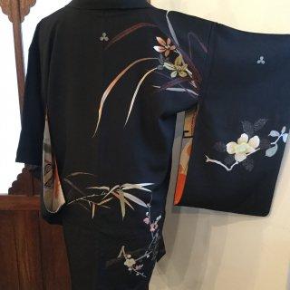 円窓K218*吉祥の四花/アンティーク羽織