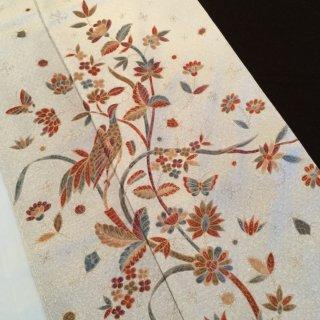 円窓K234*メルヘン更紗♪手描き紬の訪問着/リユース